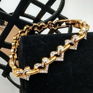 Swarovski Crystal & Gold Heart Bracelet